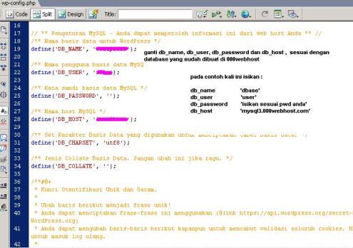 edit config.php