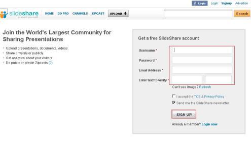 sign up slideshare